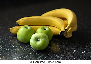 tabletop., verde, nero, selettivo, banane, fuoco., mele