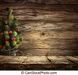 Tabletop with Christmas tree - Christmas background. Empty...