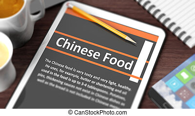 "Tabletop with various objects focused on tablet with  ""Chinese Food"" text on screen"