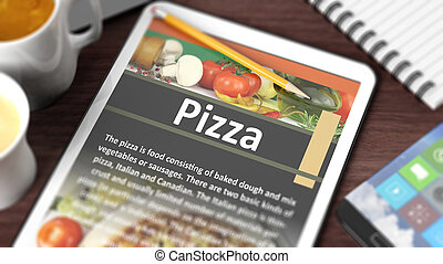"""Tabletop with various objects focused on tablet with recipe of """"Pizza"""" on screen"""