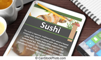 "Tabletop with various objects focused on tablet with recipe of ""Sushi"" on screen"