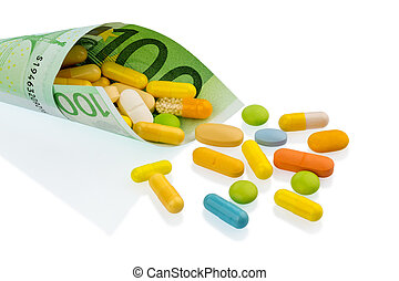tablets and one hundred euro bill