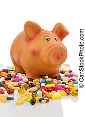 tablets and piggy bank