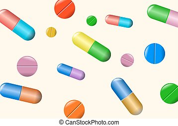 Tablets and pills vector set isolated on beige background.