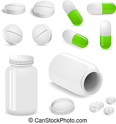 Tablets and pills vector set isolated on white.