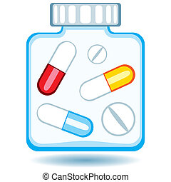 Tablets - The pill's vial icon on white background