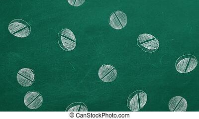 Hand drawn pills on green chalkboard falling down