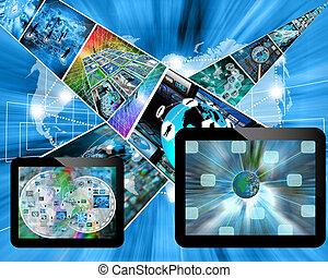 tablets - Many abstract images on the theme of computers, ...