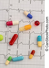 tablets on an ecg - several pills are on an ekg. symbolic...