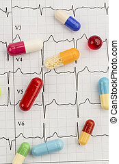tablets on an ecg - several tablets are on an ekg. symbolic...
