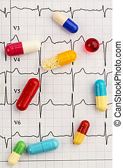 tablets on an ECG - several tablets lie on an EKG. symbolic...