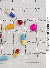 tablets on an ekg - several tablets lie on an ecg. symbolic...