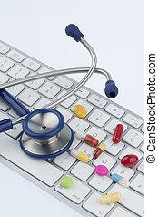 tablets on keyboard