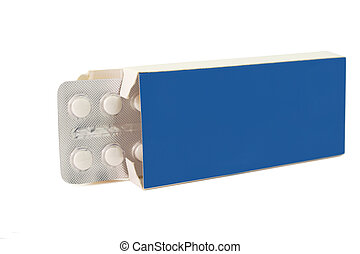 Tablets pills in pack blue on white background