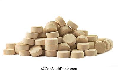 Tablets pills medicine in heap