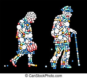 Tablets, pills and capsules, that shape the silhouette of an old woman and an old man. Vector illustration on black background.