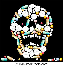 Tablets, pills and capsules, that shape a creepy skull.