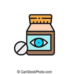 Tablets, vitamins, medicine for vision flat color line icon...