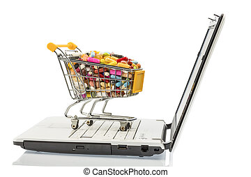 tablets with cart and computer. symbolic photo for the...