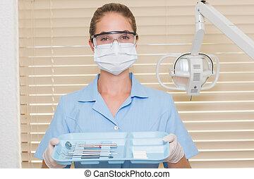 tablett, besitz, blaues, assistent, werkzeuge, dental