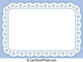 tablett, blå, pastell, snörhål, spets