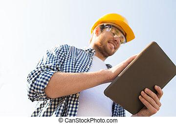tabletta, építő, feláll, számítógép, hardhat, becsuk