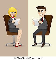 tabletta, ülés, businesspeople, használ, szék, karikatúra