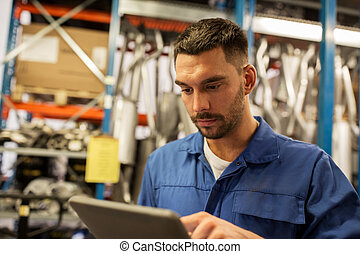 tabletta, autó, kovácsol, számítógép, műhely, szerelő, vagy
