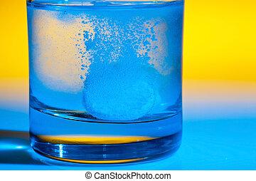 tabletta, dissolves, alatt, víz, képben látható, pohár