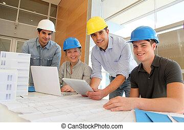 tabletta, dolgozó, diákok, építészet, nevelő, elektronikus