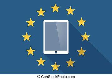 tabletta, egyesítés, hosszú, lobogó, számítógép, árnyék, európai