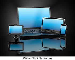 tabletta, electronics., mozgatható, laptop, számítógép, telefon, gps