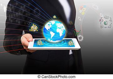 tabletta, folyó, modern, folyik, számítógép, adatok, furfangos