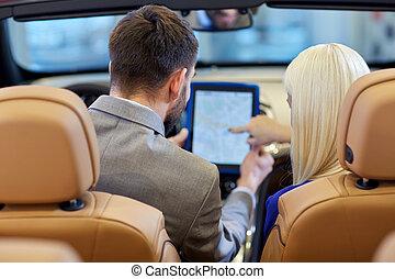 tabletta, kabrió, ülés, autó, párosít, számítógép