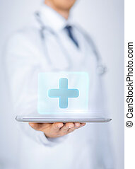 tabletta, orvos, orvosi, számítógép, birtok, hím, app