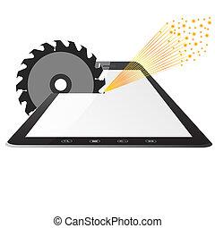 tabletta pc, számítógép, egy, fog, circular fűrész
