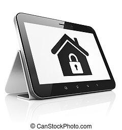 tabletta pc, számítógép, saját értékpapírok, concept: