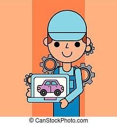 tabletta, szolgáltatás, autó, app, munkás, fenntartás, birtok