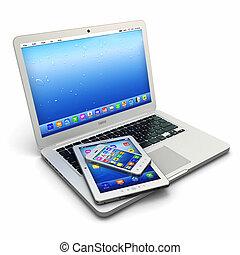 tabletta, telefon, mozgatható, laptop, számítógép, digitális