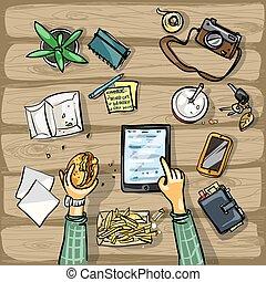 tabletta, tető, -, ebédel, háttér, idő, kilátás