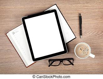 tablette, à, écran blanc, et, tasse à café