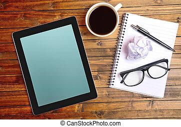 tablette, à, cahier, et, tasse à café