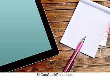 tablette, à, vide, cahier