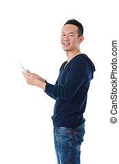 tablette, écran, arrière-plan., informatique, asiatique, tenue, numérique, toucher, blanc, homme