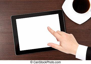 tablette, écran, casquette, main, informatique, caffe, complet, homme affaires, table, points