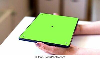 tablette, écran, chroma, pc, clef verte, mains