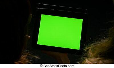 tablette, écran, deux, avoir, pc, vert, mains, débat, femmes