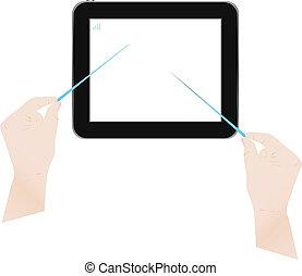 tablette, écran, informatique, mains, toucher, homme