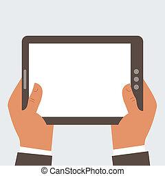 tablette, écran, informatique, tenue, vide, homme affaires