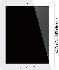 tablette, écran, isolé, informatique, arrière-plan noir